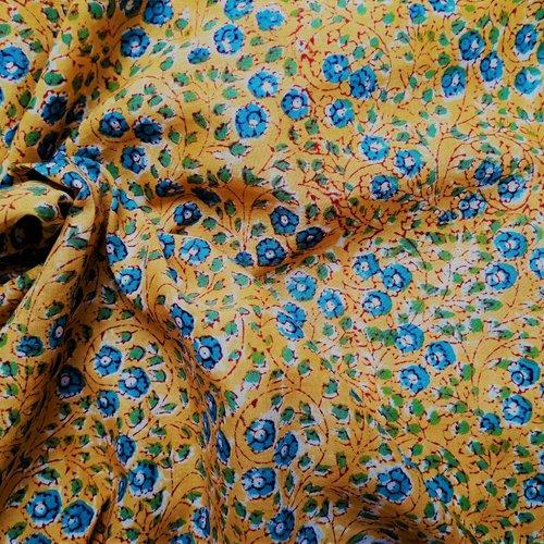 Tissu/coupon 200 x 110 cm/coton/inde/imprimé à la main/jaune/bleu/blanc/vert/fleurs/petites fleurs/coton indien