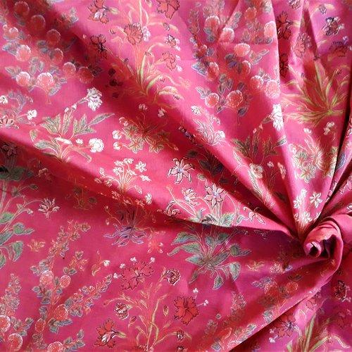 Tissu au mètre voile de coton indien imprimé/sérigraphié à la main inde fleurs rose