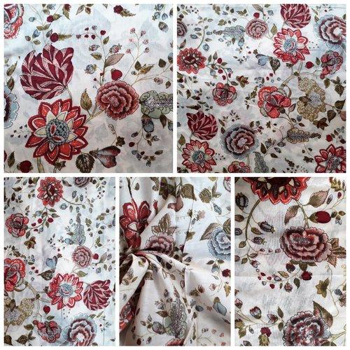 Tissu au mètre voile de coton indien imprimé/sérigraphié à la main inde fleurs ivoire ecru multicolore