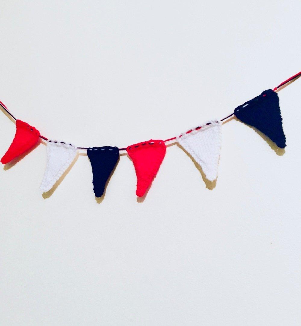 Guirlande Tricolore , Bleu, Blanc, Rouge,Fanion, Drapeau, Accessoire Supporter Football, Equipe de France, Fait-Main Français,