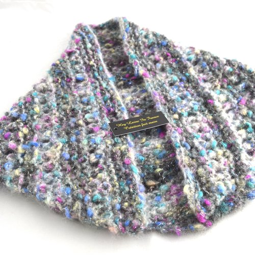 Chèche en laine pour femme tricoté main camaïeux de bleus,roses, col capuche made in france idée cadeau pour elle heylaineinfrance,