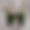 Boucles d'oreilles artisanales  cadre métal doré, résine, vert, chat, porte bonheur