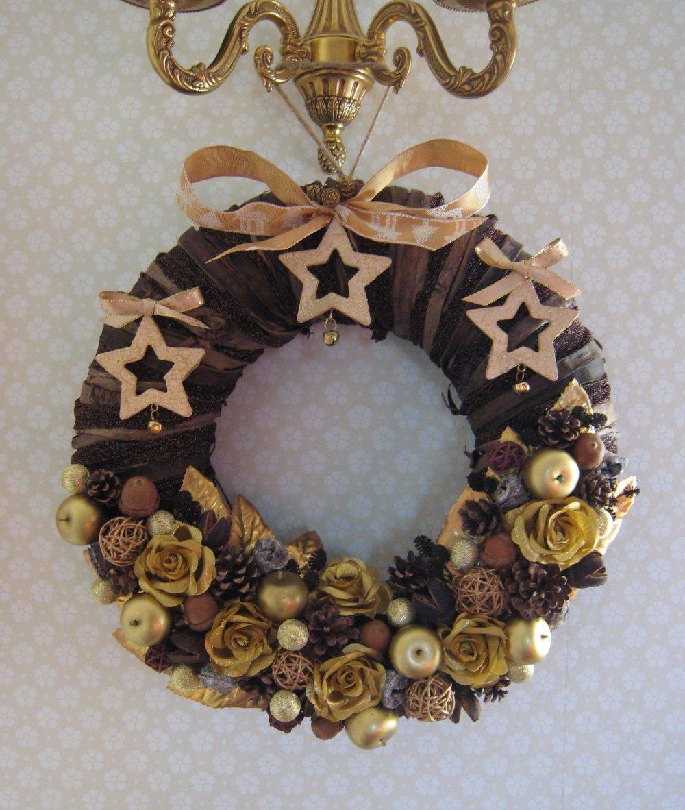 Couronne de Noël, déco de Noël, couronne dorée