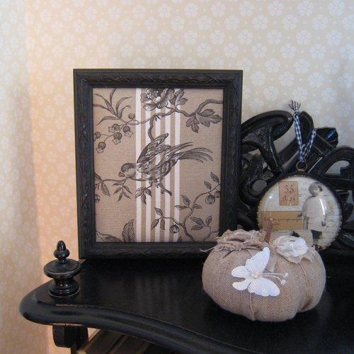 Cadre toile de jouy, scène champêtre, campagne chic, cadre noir