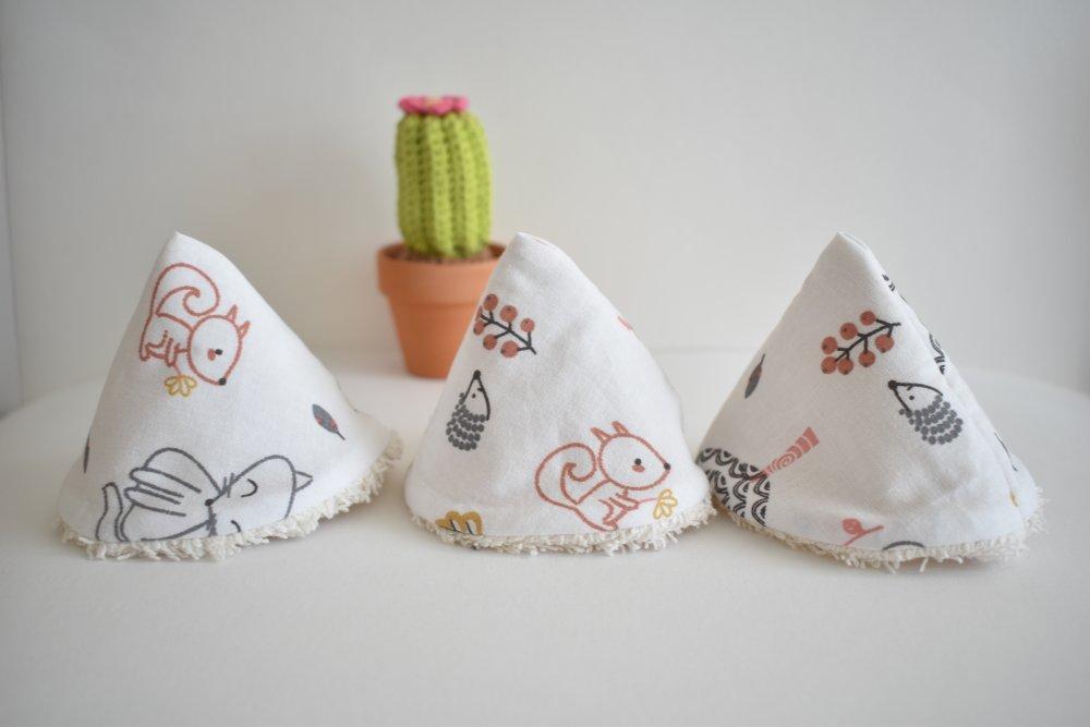 Protèges pipi, pare pipi, en coton et éponge oeko-tex, petits animaux