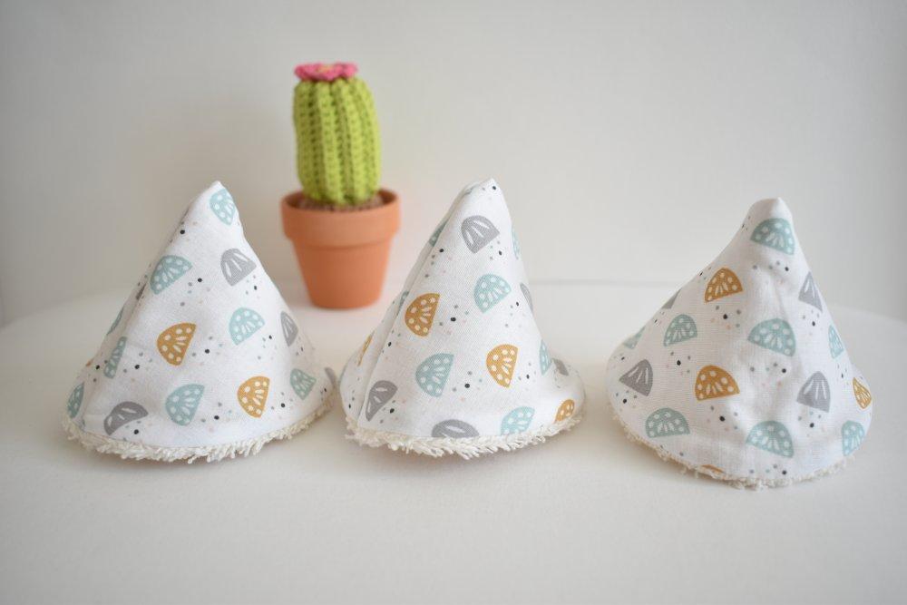 Protèges pipi, pare pipi, en coton et éponge oeko-tex, fantaisie jaune/bleu/gris