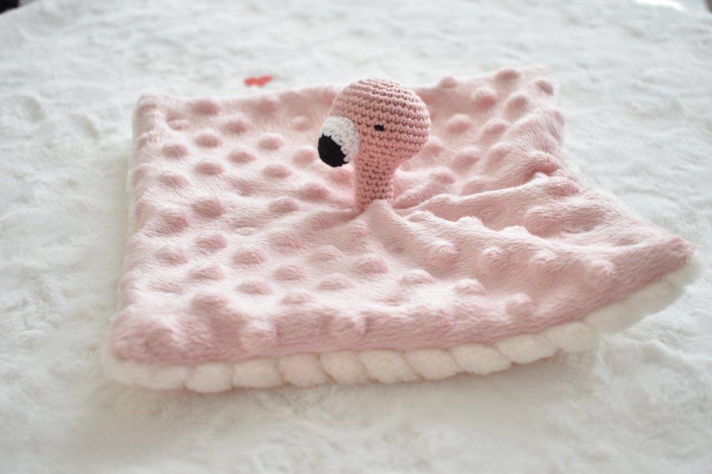 Doudou plat flamant rose coton BIO, peluche flamant rose, coton, fait main, peluche cadeau naissance, batpeme