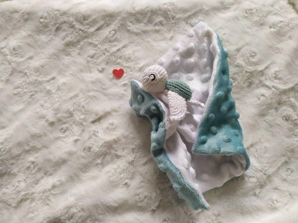 Doudou plat tortue BLEU, coton BIO, fait main, cadeau naissance, séance photo de naissance