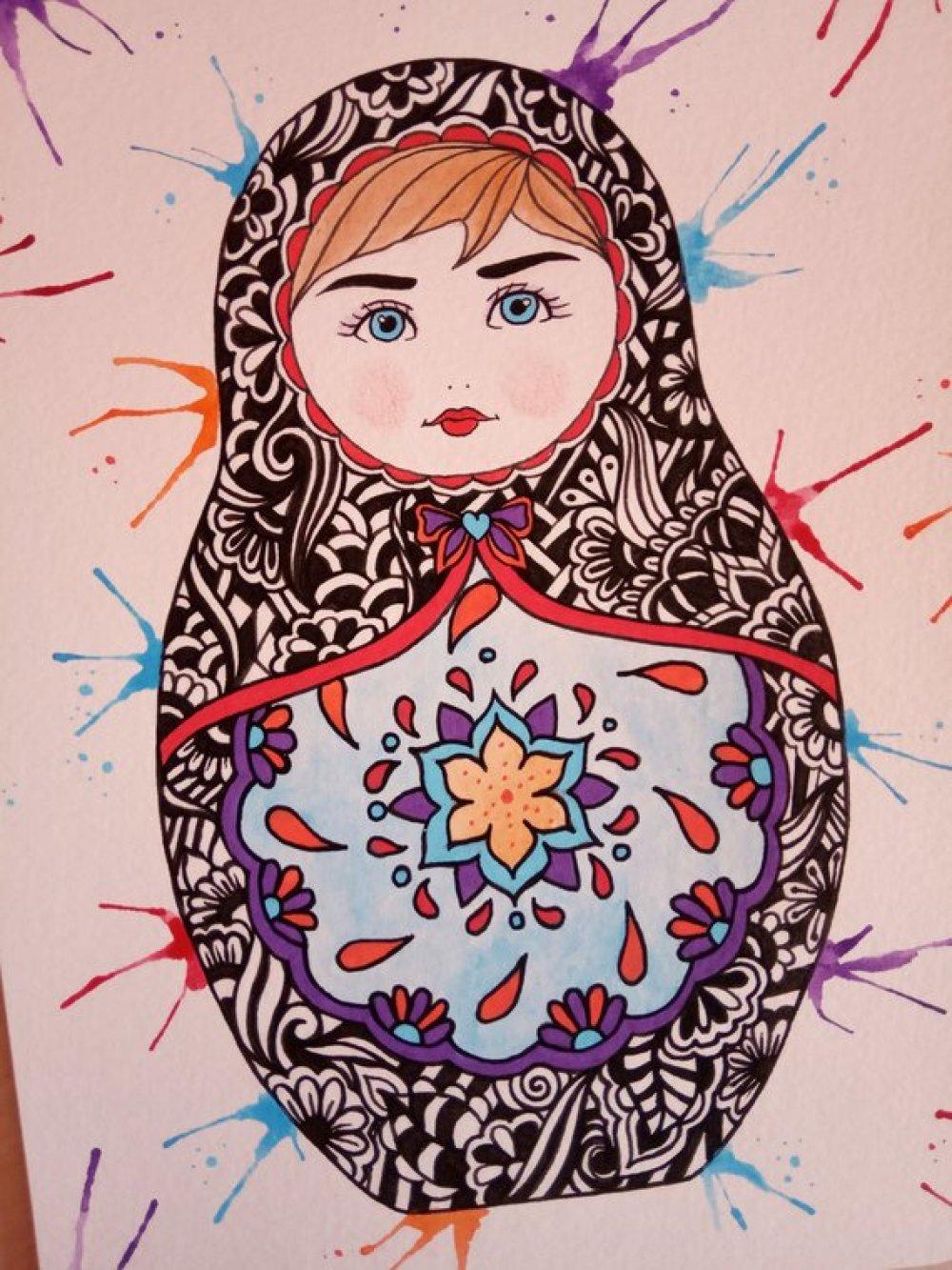 Dessin original, poupée russe, illustration matriochka, format 18X24 cm