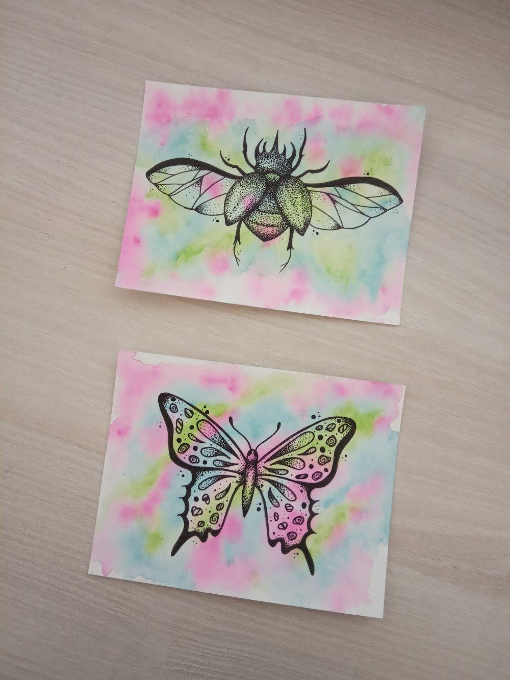 Deux petits dessins originaux, insectes, aquarelle, format 10 X 13 cm