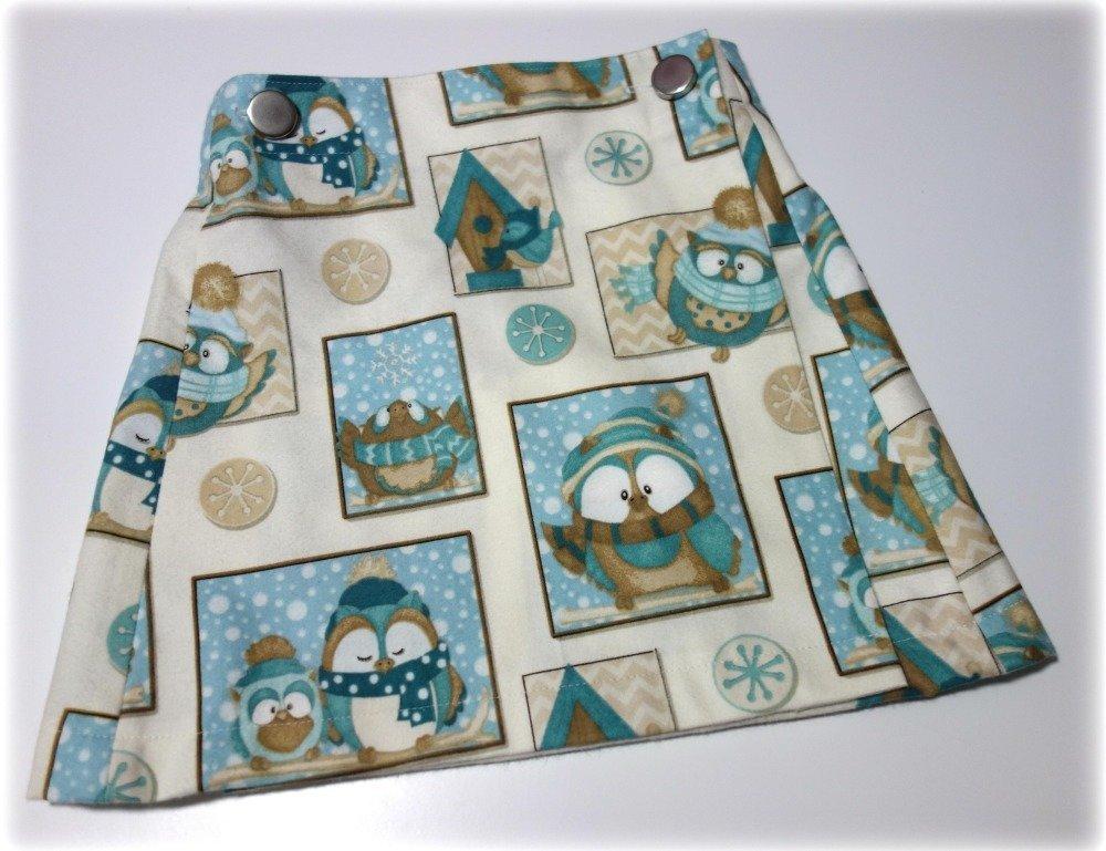 Jupe porte-feuilles en flanelle motif chouettes 6 ans