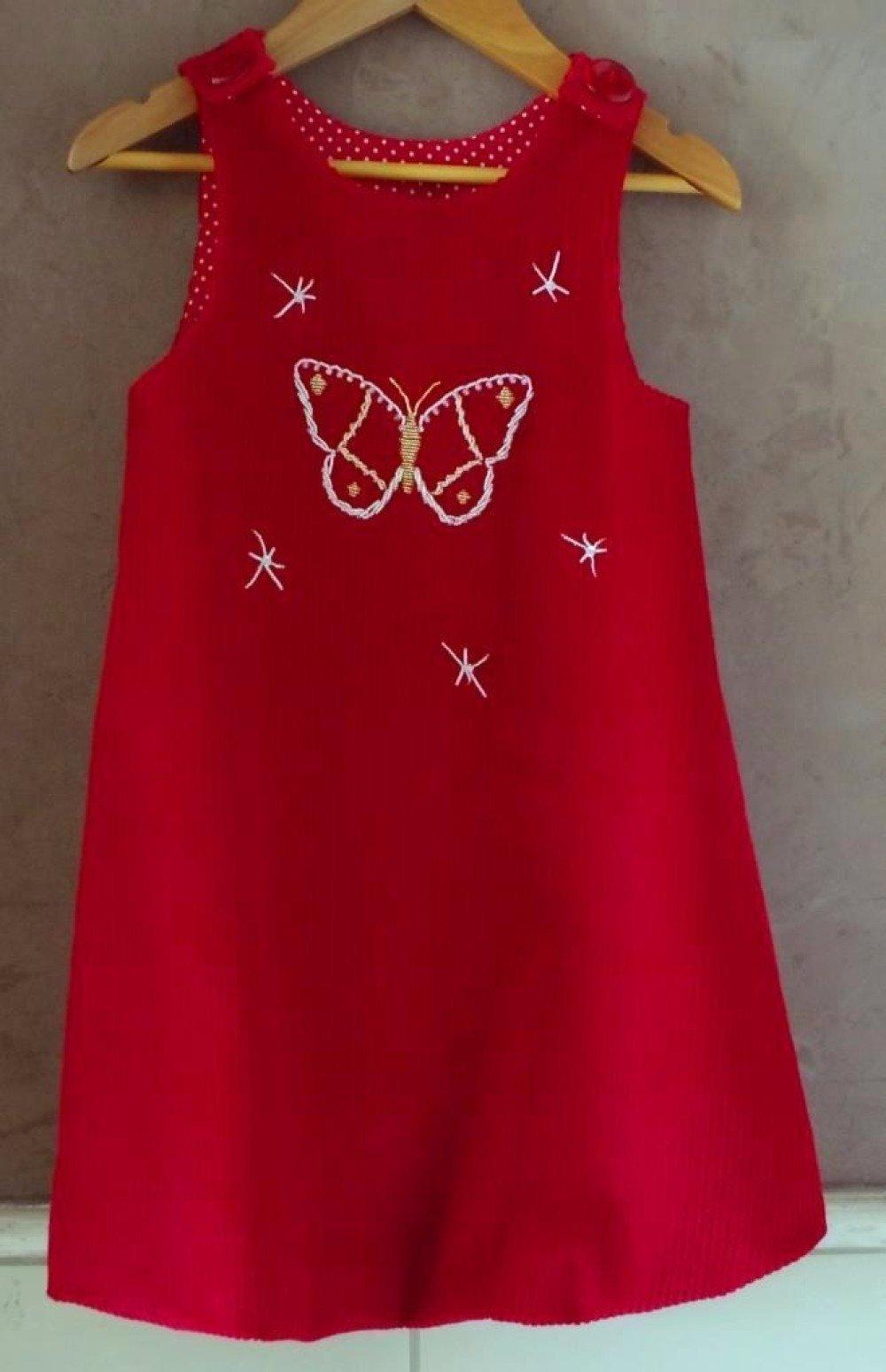 Robe chasuble doublée, en velours côtelé rouge et coton - 8 ans