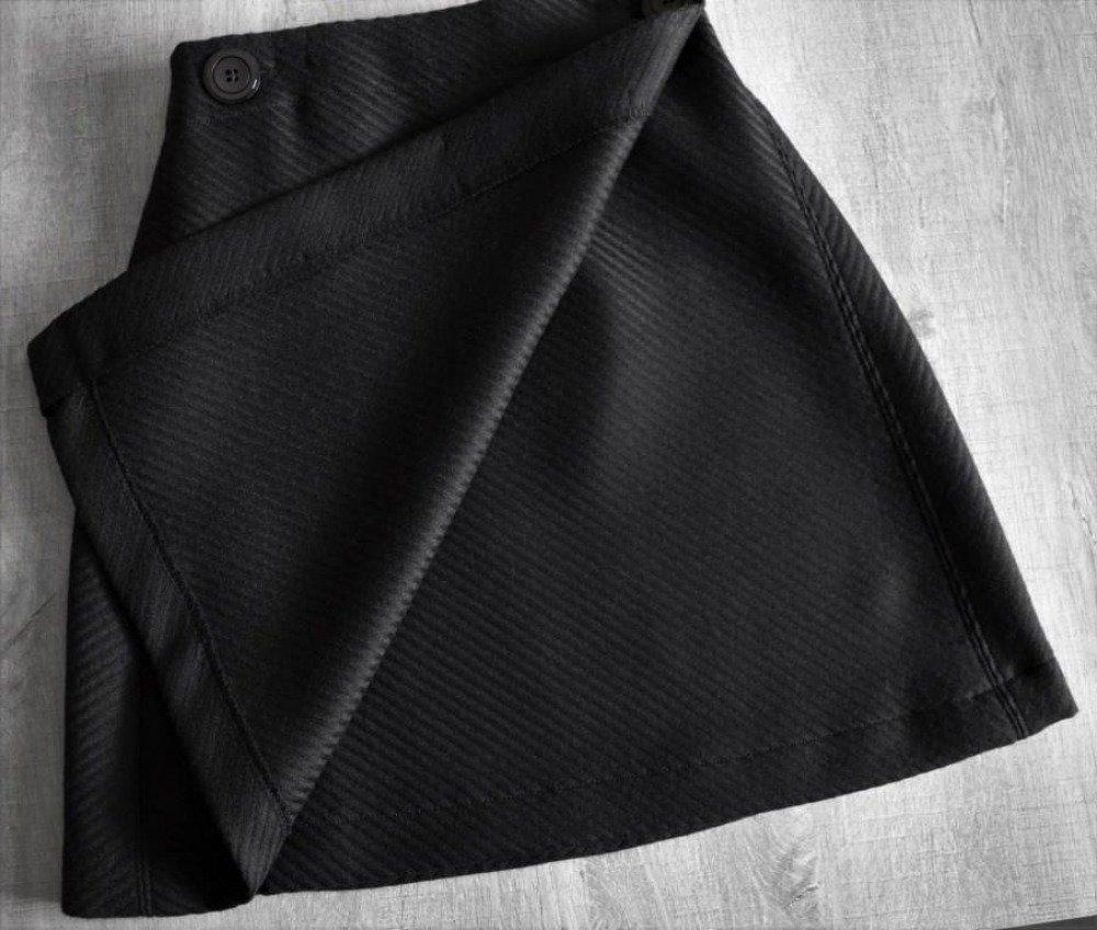 Jupe porte-feuilles en laine rayée ton sur ton marron chocolat - 10/12 ans