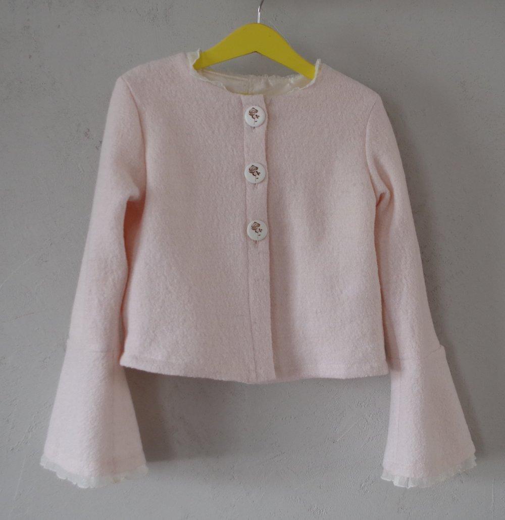 Veste courte fille chic en laine bouillie rose pâle doublée - 8 ans