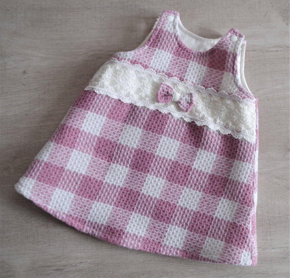 Robe chasuble trapèze doublée, laine et dentelle - 12 mois