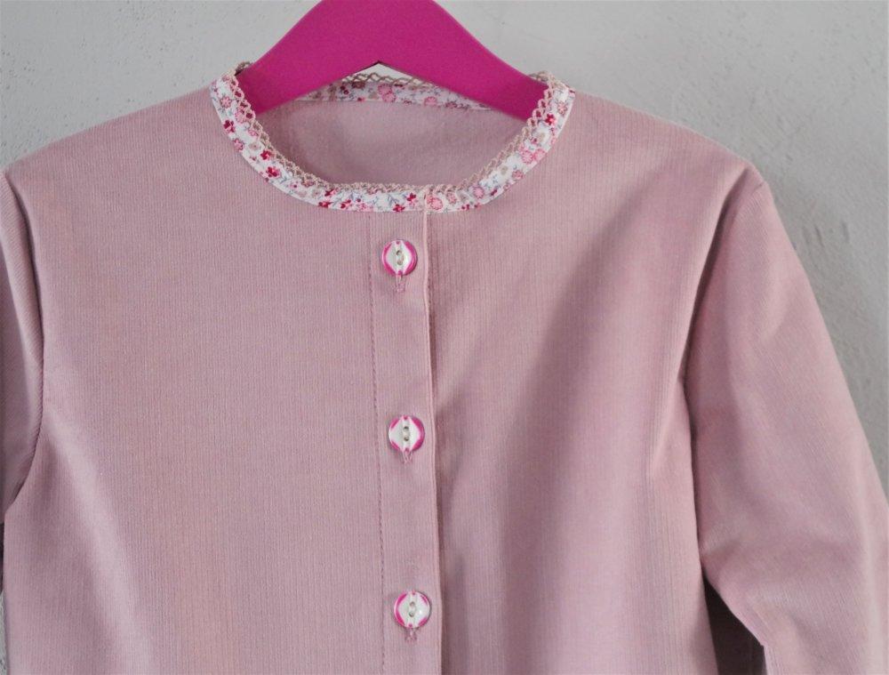 Veste courte fille en velours côtelé rose - 8 ans