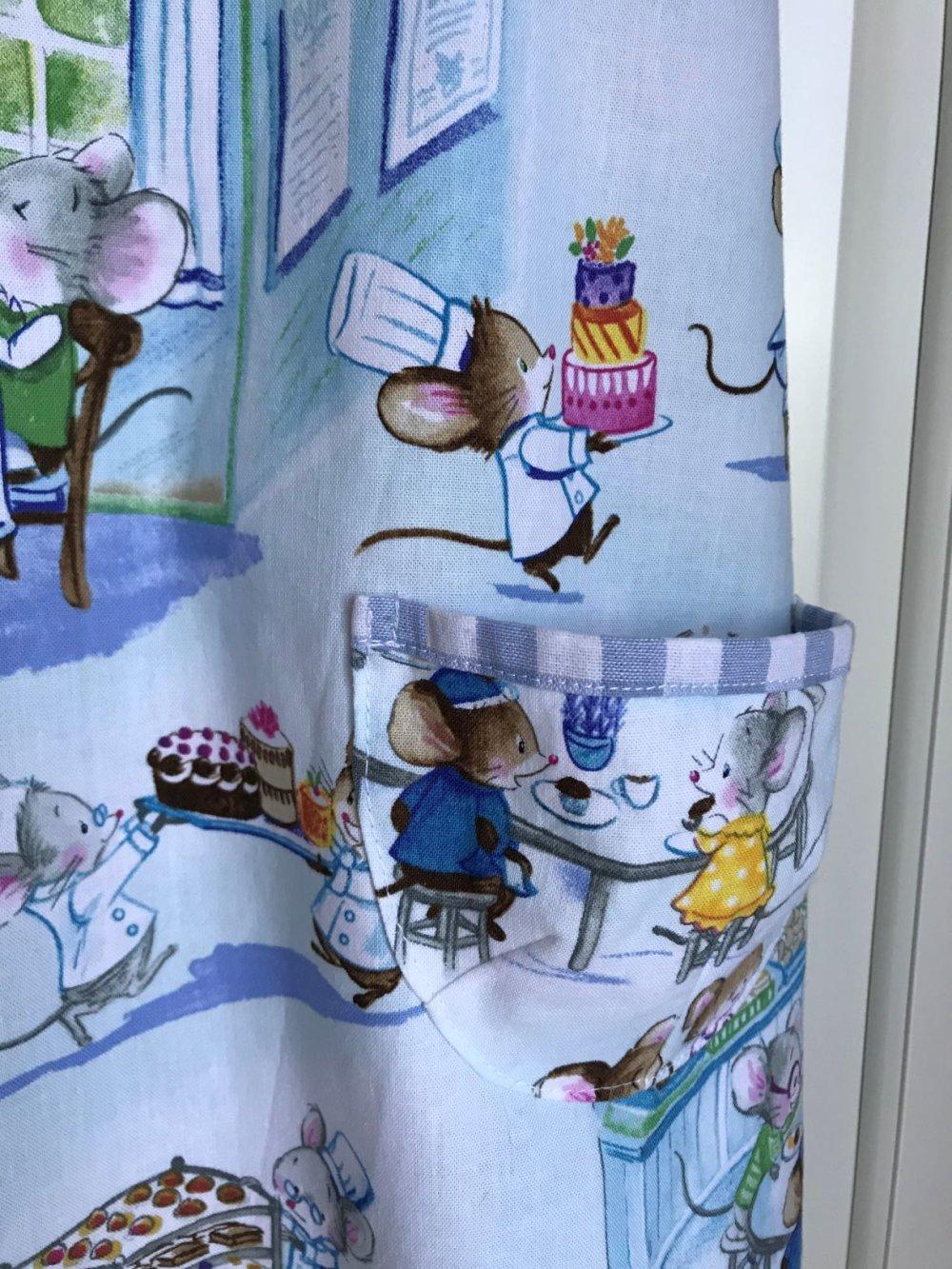 Robe chasuble trapèze coton et petites souris - 5 ans