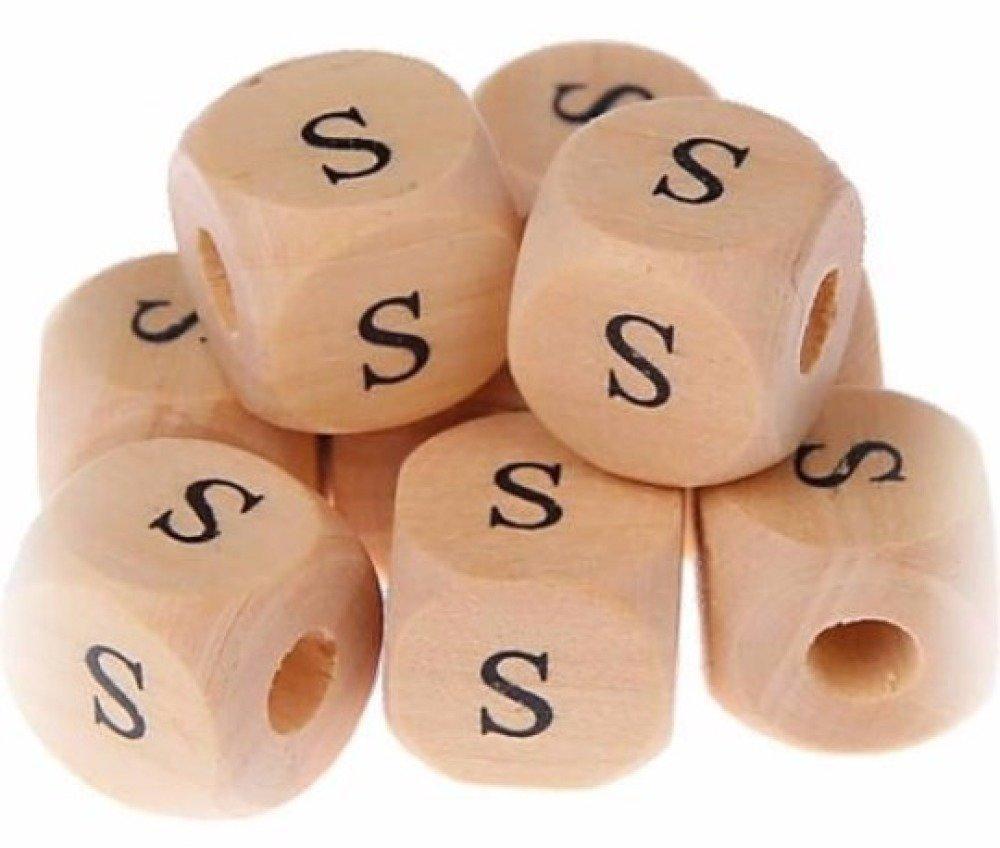 Perle en bois cube lettre S - 11 mm