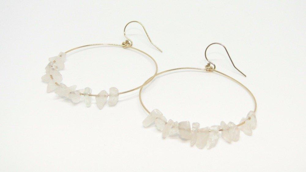 Boucles d'oreilles créoles en or et cristaux de roche