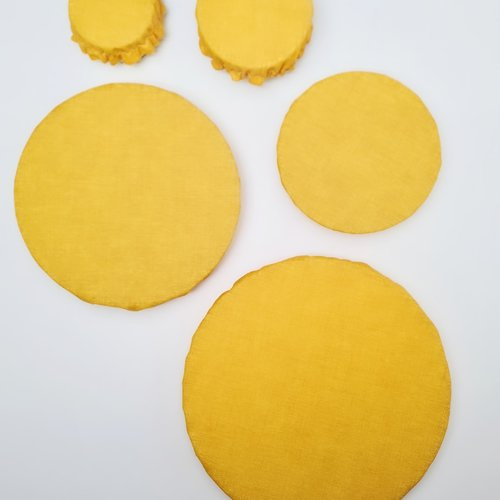 Lot de 5 charlottes alimentaires pour plats ronds , jaune unies
