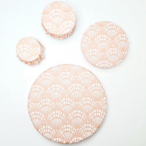 Lot de 4 charlottes alimentaires pour plats ronds , motif coquillage