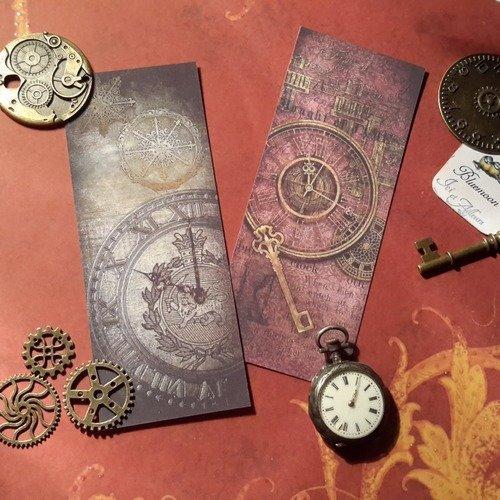 Lot a de 2 marque-pages plastifiés. papeterie,  papier fantaisie, embellissement vintâge,  papier à  motifs steampunk