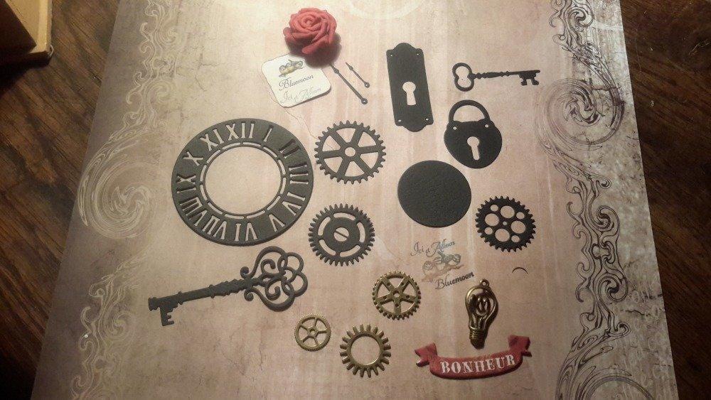 Lot 15 découpes die cut papier,  dont 4 embellissements métal. Pour loisirs créatifs,  cartes, album,  papier fantaisie.  Scrapbooking.