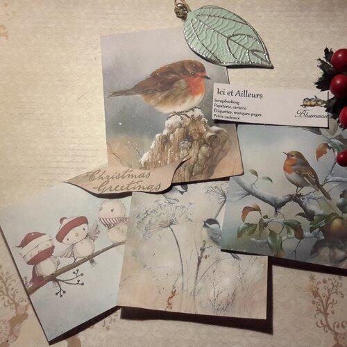 Lot 4 grandes images, cartes hiver, noël,  nature, oiseaux, papier fantaisie,  scrapbooking, loisirs créatifs,  papeterie