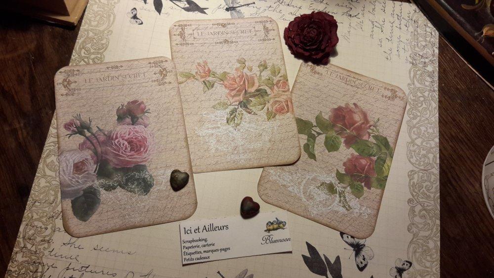 Lot 3 grandes images, cartes shabby, romantique, papier fantaisie,  scrapbooking, loisirs créatifs,  papeterie, cartes.