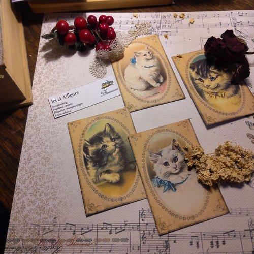 Lot 4 images, petites cartes chats,   papier fantaisie,  scrapbooking, loisirs créatifs,  papeterie, cartes.