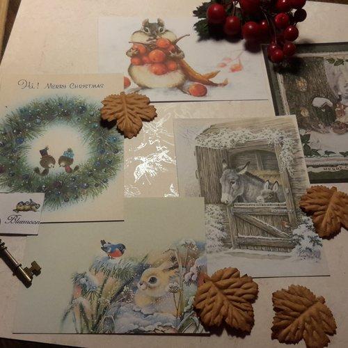 Lot 5 images,  cartes,  papier fantaisie,  scrapbooking, loisirs créatifs,  papeterie, cartes. noël,  animaux.