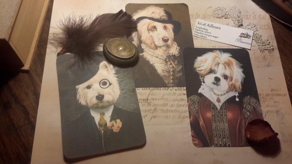 Lot 3 grandes images, cartes, chiens en habits,papier fantaisie,  scrapbooking, loisirs créatifs,  papeterie, cartes.