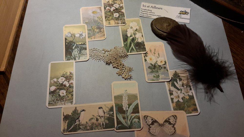 Lot 10 embellissements + 9 motifs adhésifs double face offerts. Tags,  étiquettes,  découpes papier. Scrapbooking, créations cartes.