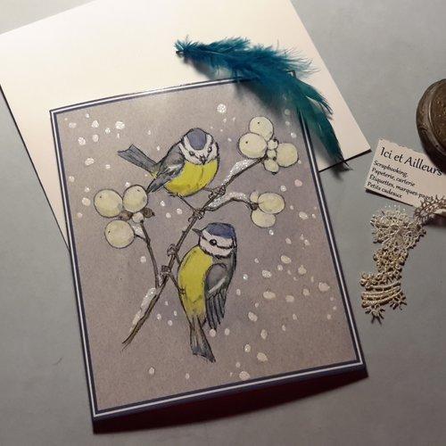 Carte double neige relief, enveloppe, carterie anglaise. papeterie, illustrations mésanges en hiver.