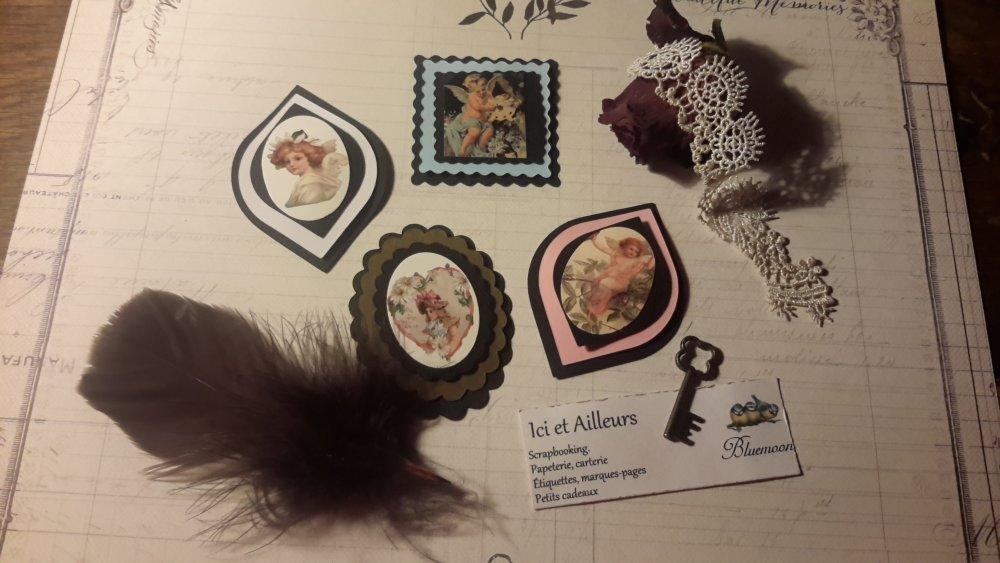 Lot 4 die cut 3D, embellissements, étiquettes, tags, anges, amour. Scrapbooking, créations cartes, loisirs créatifs.