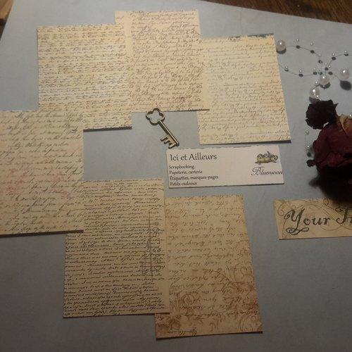 Lot  6 images. ecritures anciennes,  lettres.créations de cartes, albums, journal, loisirs créatifs, home déco, scrapbooking