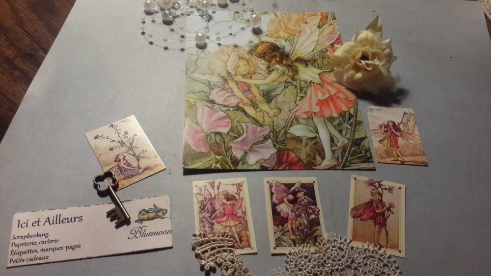 Lot 6, grande carte postale et 5 mini images, tags, stickers, embellissements, scrapbooking, loisirs créatifs,  home déco.