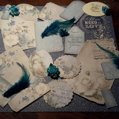 Lotb de 15, ensemble scrapbooking shabby romantique. harmonie de bleue. tags, dies, die cut, images, étiquettes,  papier.