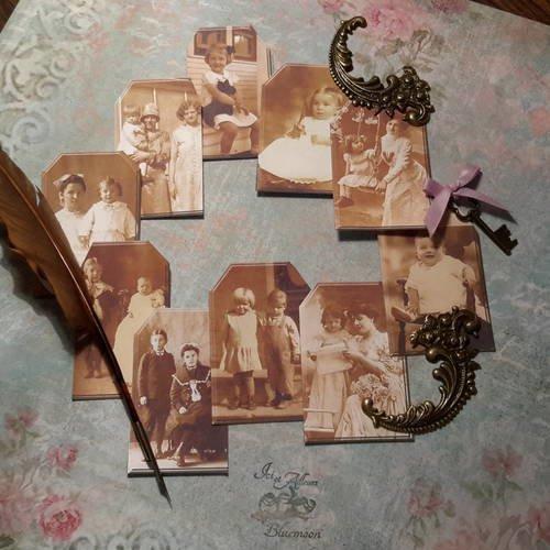 Lot b 10 tags, étiquettes,  images, mères, enfants, photos anciennes. portraits victoriens,  années 50, années 60. carterie