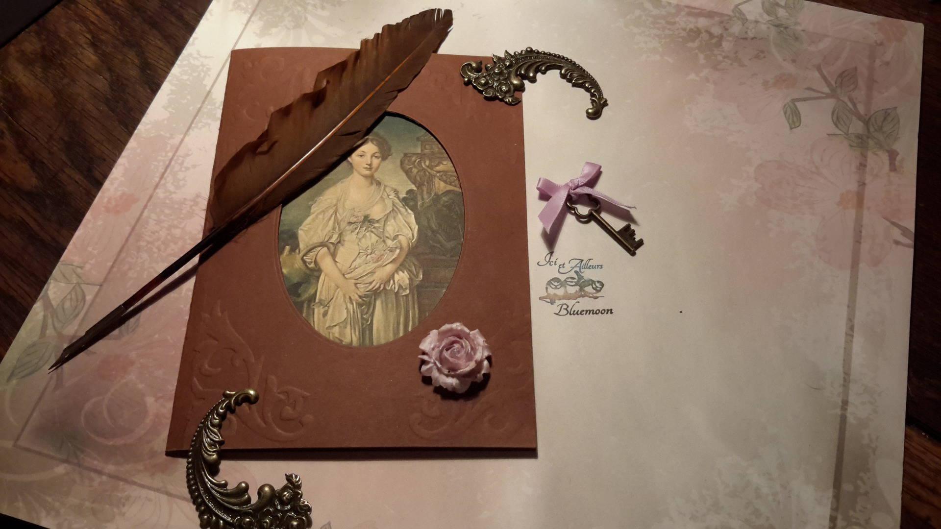 EXEMPLAIRE UNIQUE》Carte double, enveloppe, carte véritable 19 ème,  jeune femme,  vintage,  tableau Musée de Louvre, carte italienne