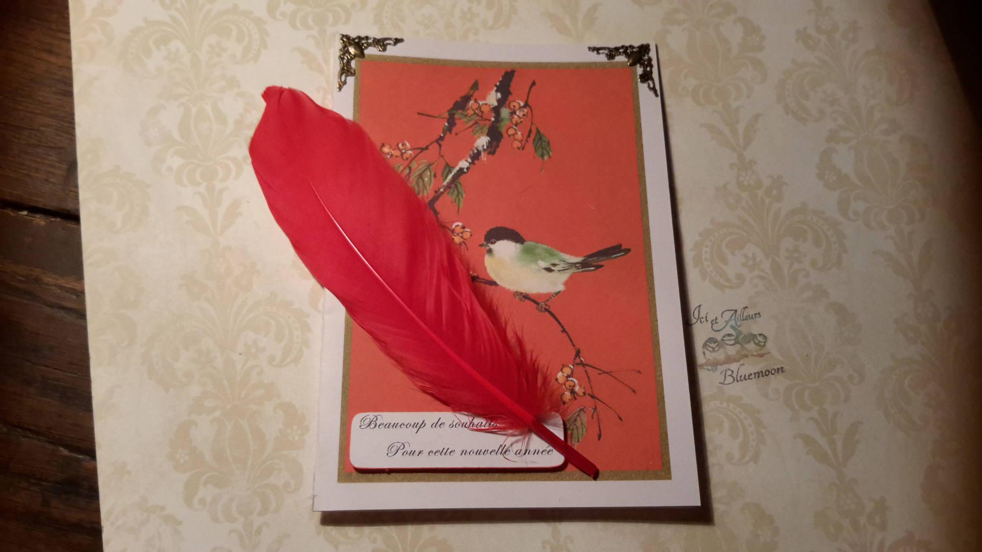 Carte double personnalisable  rectangulaire  250g et enveloppe, dessin oiseau sur branche et baies givrés. Estampes.  3D