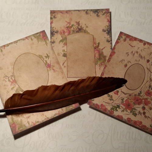 Lot de 3  cartes, images,  fonds de carte,  coquelicots, violettes, fushia, cyclamen.. cadres vintages.