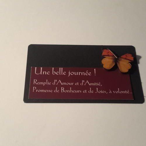 Grand Embellissement Ou Mini Carte Papillon En Bois Coloré