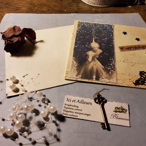 Carte double,  fais un vœu et son enveloppe. embellissements, découpes papiers, carterie, papeterie.