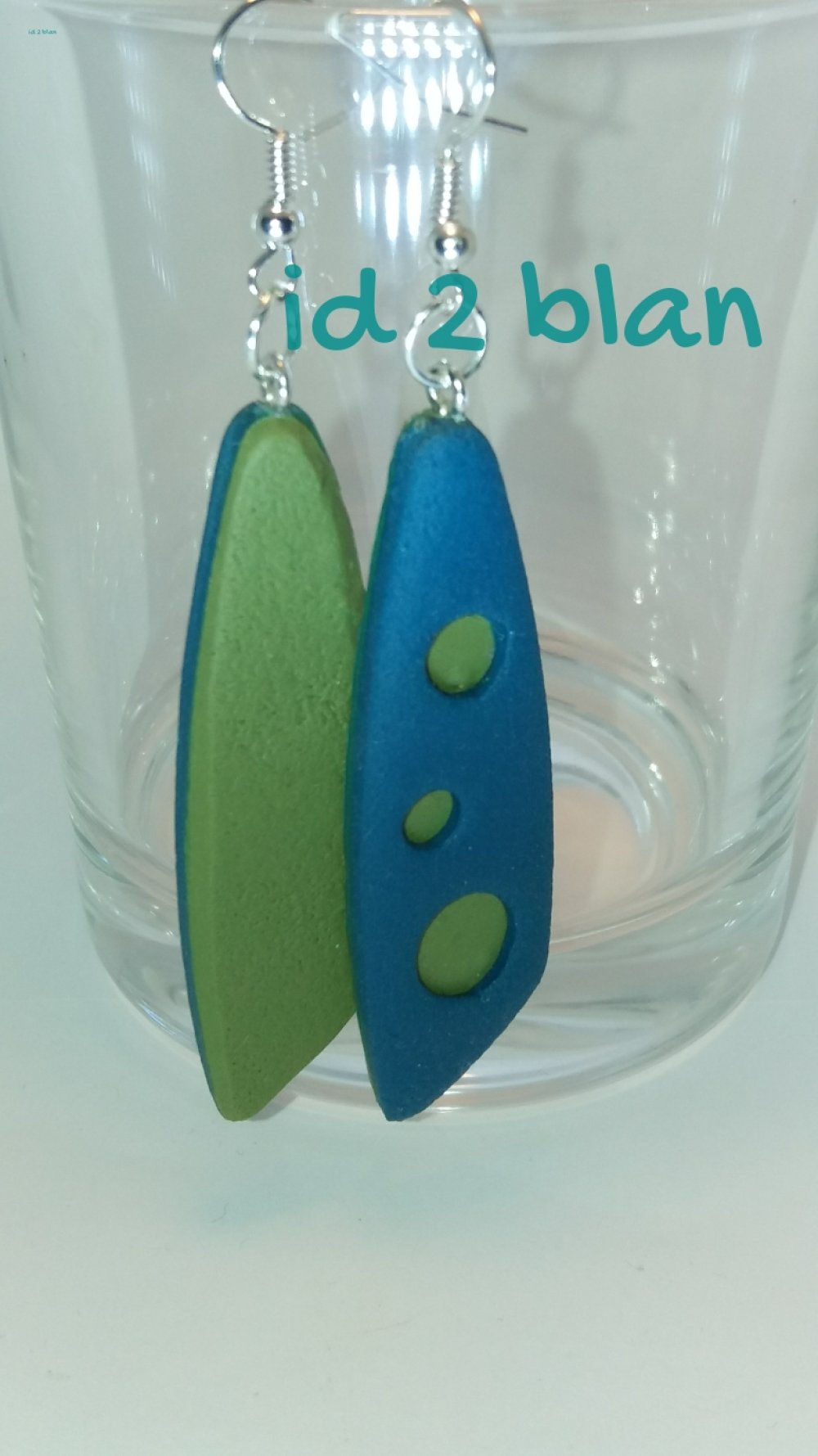 Boucles d'oreilles argile polymère Geometric bleu calypso