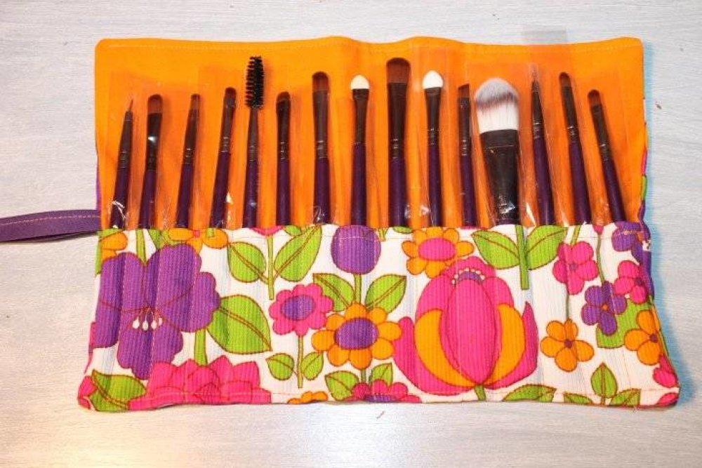 Trousse vide fermeture eclair pour 15 outils pinceaux crayons stylos maquillage