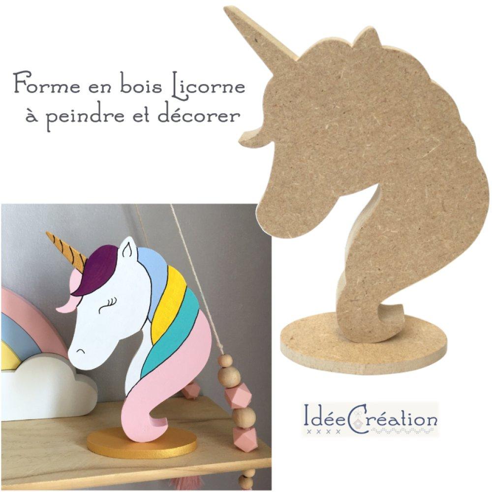 Licorne en bois brut à décorer, forme en bois (MDF) brut à peindre pour une déco de chambre de princesse