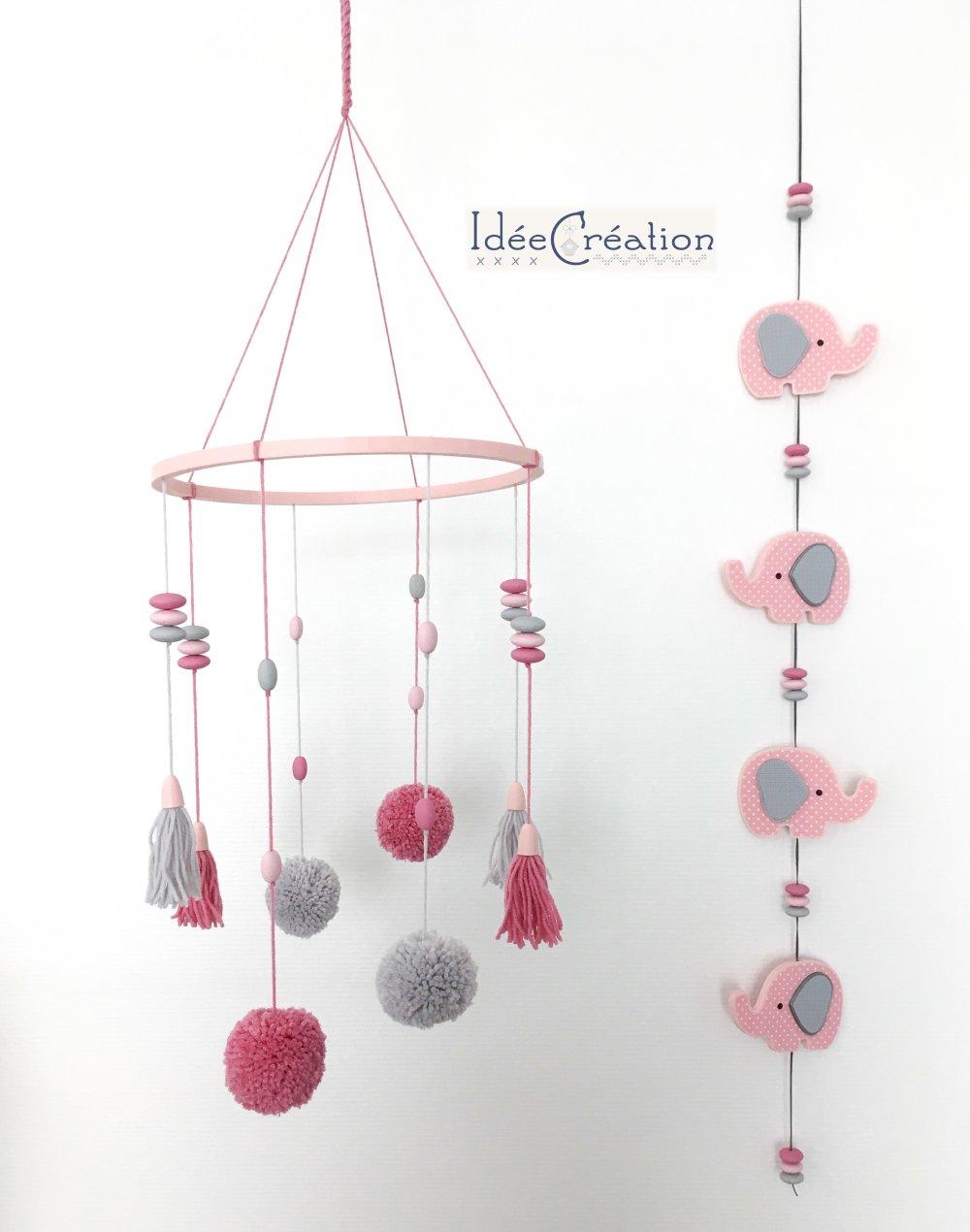 Guirlande déco éléphants roses et gris, pour chambre d'enfant