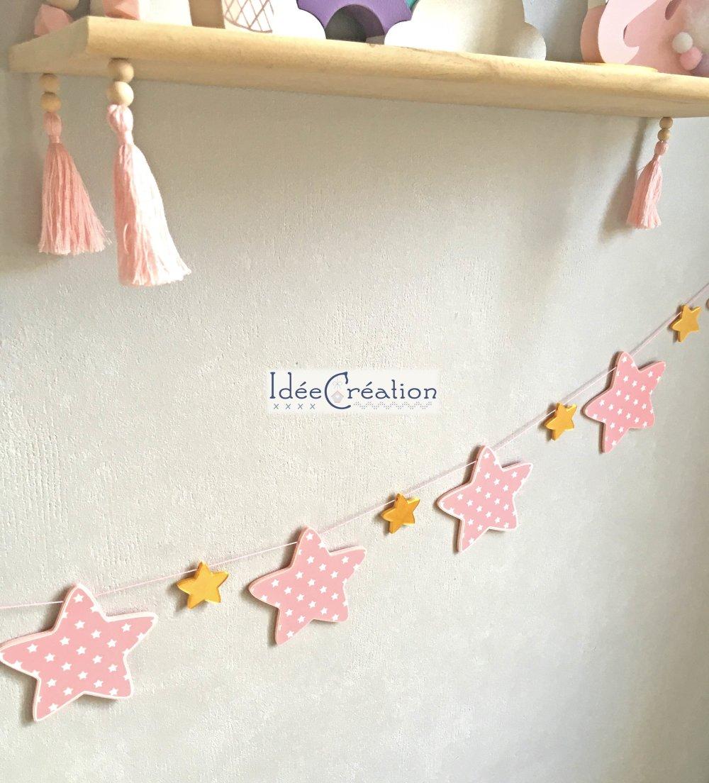 Guirlande déco Etoiles rose et dorées pour une déco chambre de princesse
