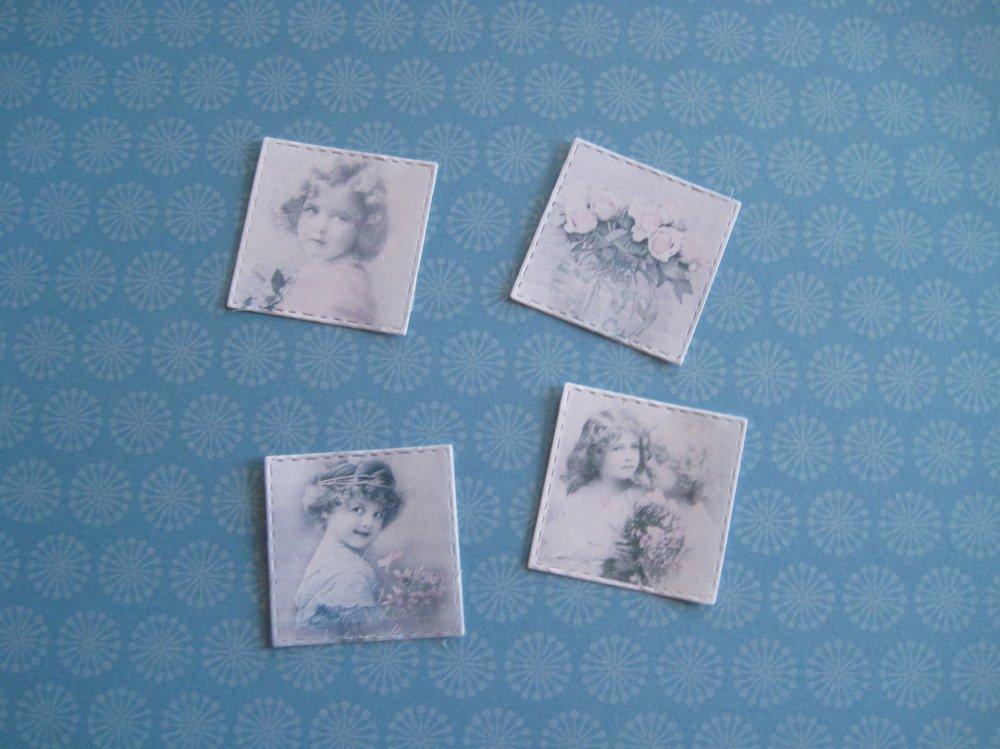 Autocollants vintage, petite fille, fleurs, découpe rétro, stickers vintage